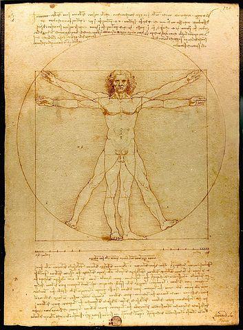 L'Homme de Vitruve, Léonard de Vinci (1485-1490, Venise, Galleria dell' Accademia) Plume, encre et lavis sur papier. photo : Luc Viatour, disponible sur Wikimedia Commons