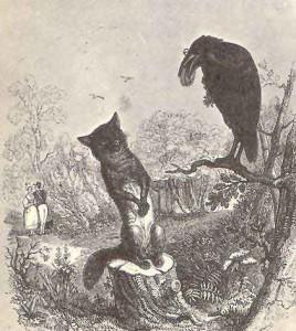Le corbeau et le renard par Grandville (1803-1847). image disponible sur Wikimedia commons
